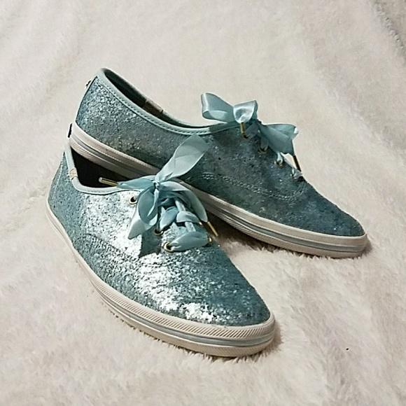 keds kate spade blue glitter